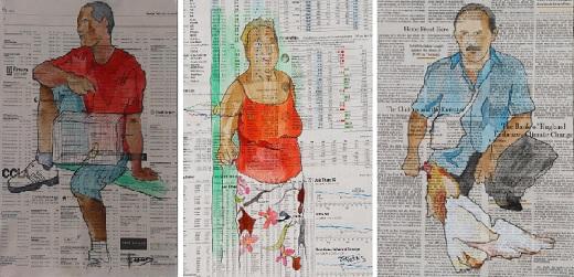 """Pinturas """"Enjaulado"""", """"Manuela"""" y """"Gallo blanco"""" de Carmen Jabaloyes. Acuarela y óleo sobre papel de periódico."""
