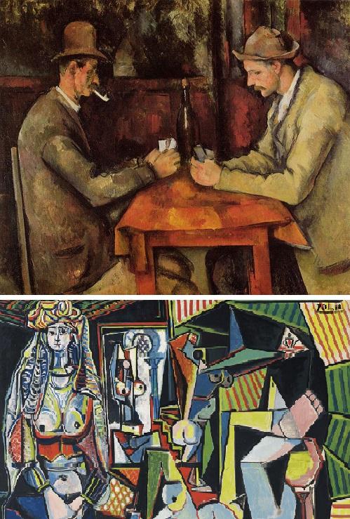 """""""Los jugadores de cartas"""" (arriba) y """"Las mujeres de Argel"""""""