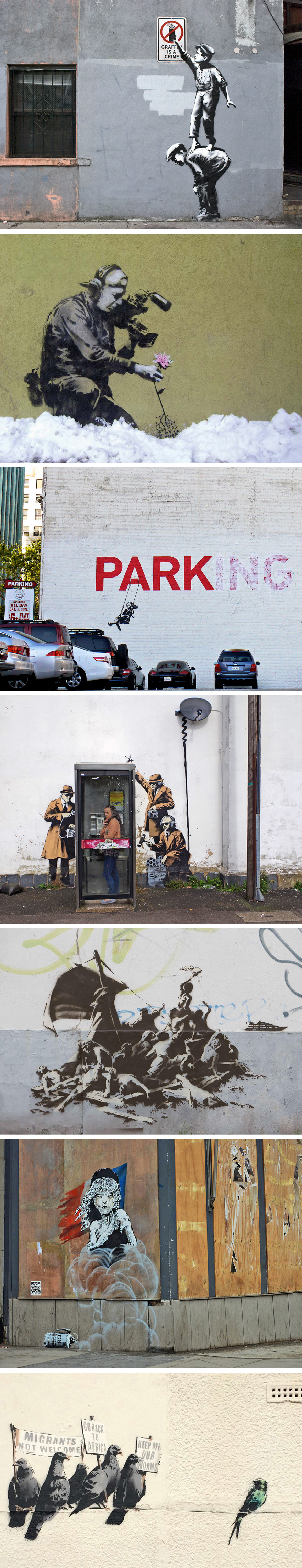 Obras de street art creadas por Bansky