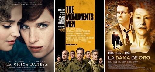 """Cartel de las películas """"La chica danesa"""", """"The monuments men"""" y """"La dama de oro""""."""