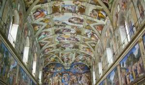 Fotografía de los frescos de la bóveda de la Capilla sixtina