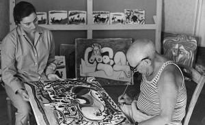 Fotografía de Pablo Picasso pintando