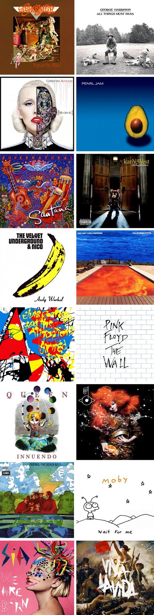 listados de algunas de las portadas de discos más creativas, publicadas entre la década de los 60' hasta la actualidad.