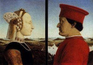 """""""Díptico del Duque de Urbino"""", donde aparecen retratados Battista Sforza y Federico da Montefeltro. Obra del artista Piero della Francesca."""