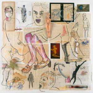 """Les amis"" de Carmen Calvo. 1999, técnica mixta, collage, dibujo, papel, 100 x 100 cm."