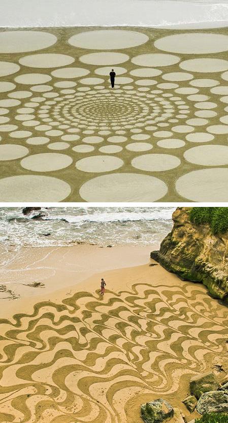 Intervenciones de Land Art realizadas en playas por los artistas Jim Denevan (arriba) y Jehan Bemjamin (abajo)